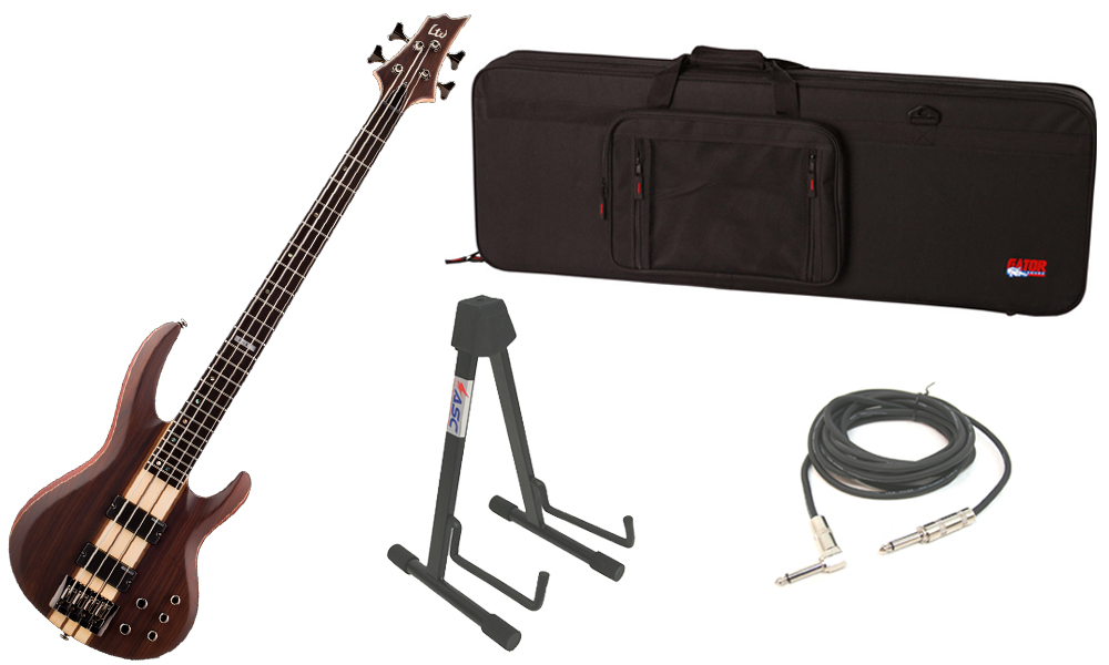 """ESP LTD B Series B-4E Mahogany Body 4 String Ebony Fingerboard Natural Satin Electric Bass Guitar with Travel Road Case, Stand & 1/4"""" Cable"""