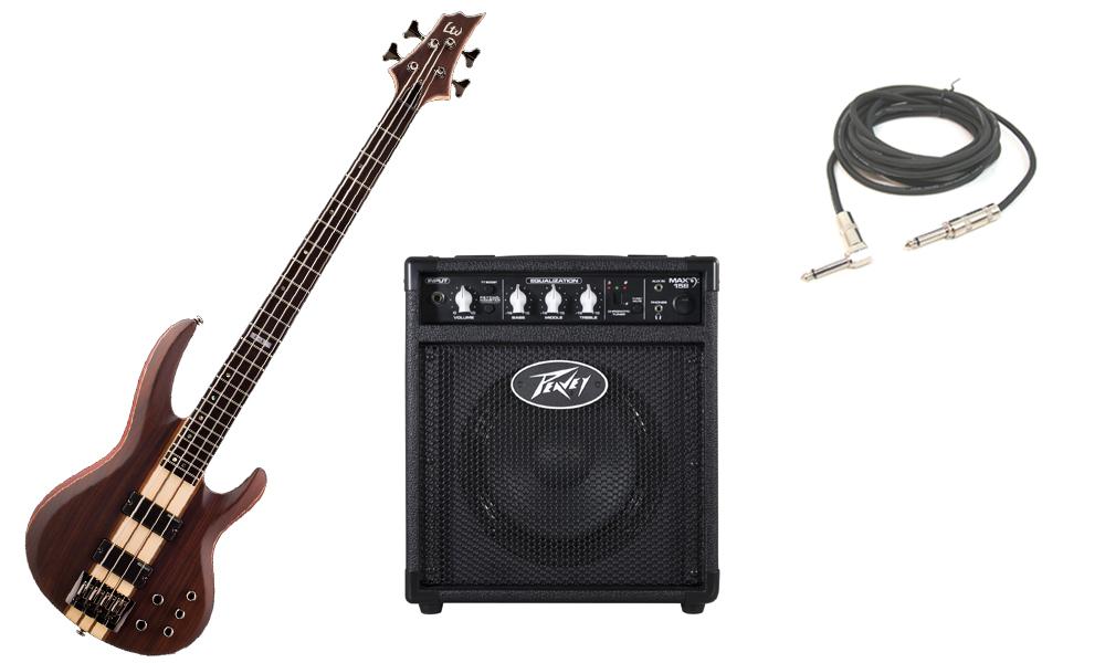 "ESP LTD B Series B-4E Mahogany Body 4 String Ebony Fingerboard Natural Satin Electric Bass Guitar with Peavey Max 158 Practice Amp & 1/4"" Cable"