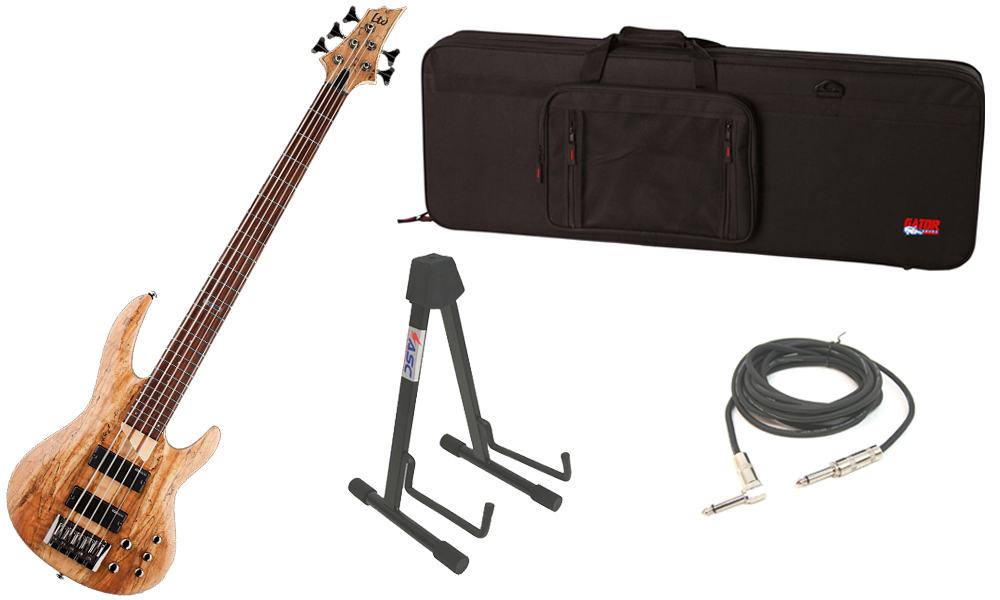 """ESP LTD B Series B-205SM Spalted Maple Top 5 String Rosewood Fingerboard Natural Satin Electric Bass Guitar with Travel Road Case, Stand & 1/4"""" Cable"""