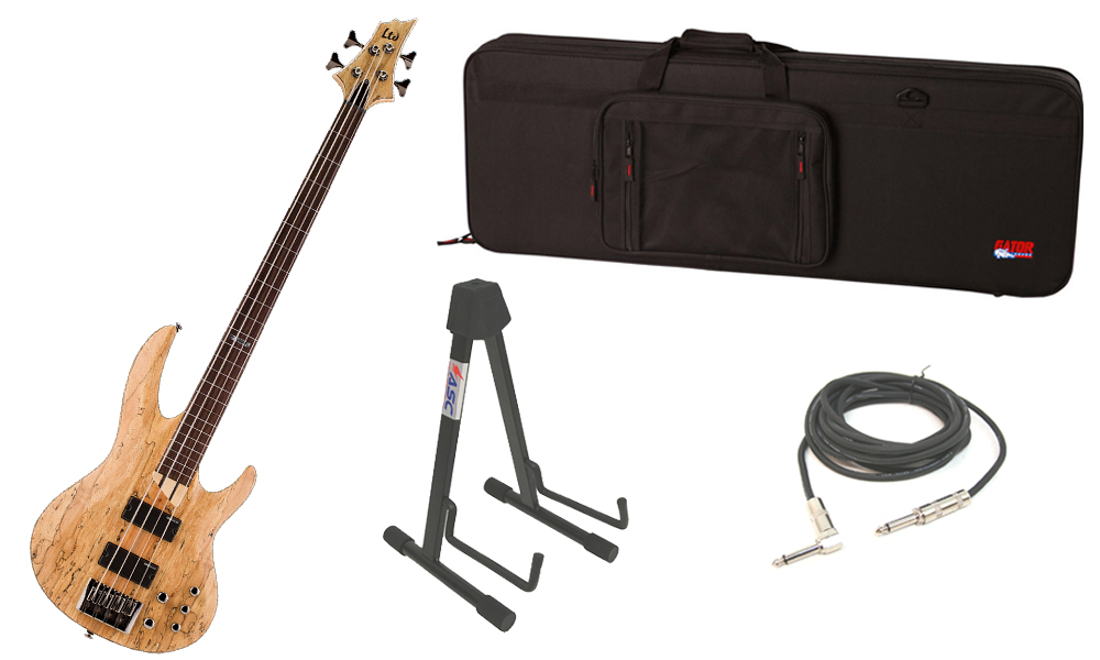 """ESP LTD B Series B-204SM Spalted Maple Top 4 String Fretless Rosewood Fingerboard Natural Satin Electric Bass Guitar with Travel Road Case, Stand & 1/4"""" Cable"""