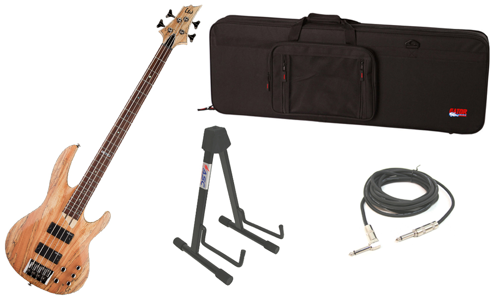 """ESP LTD B Series B-204SM Spalted Maple Top 4 String Rosewood Fingerboard Natural Satin Electric Bass Guitar with Travel Road Case, Stand & 1/4"""" Cable"""