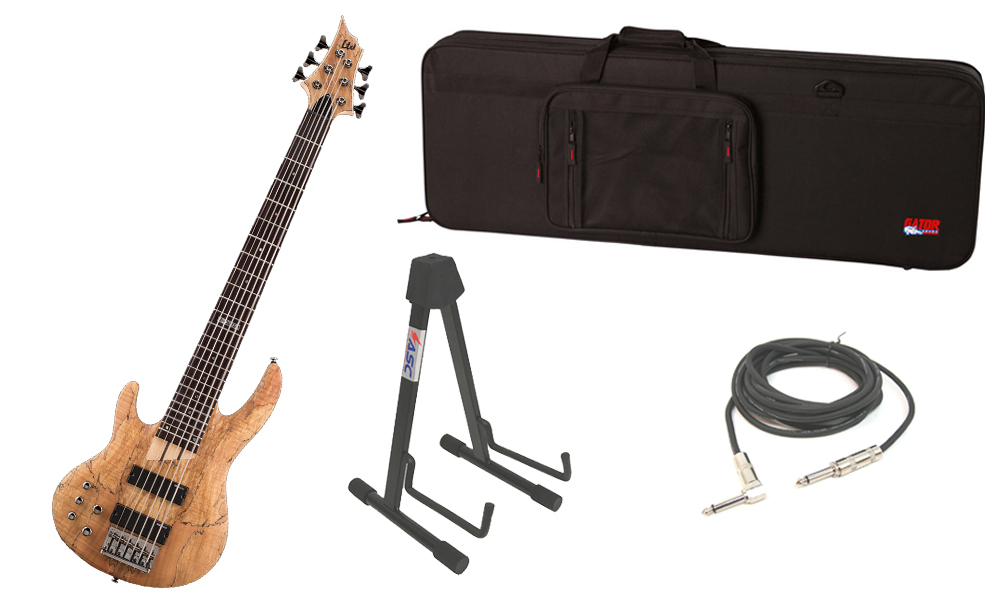 """ESP LTD B Series B-206SM Spalted Maple Top 6 String Rosewood Fingerboard Natural Satin Electric Bass Guitar (Left Hand) with Travel Road Case, Stand & 1/4"""" Cable"""