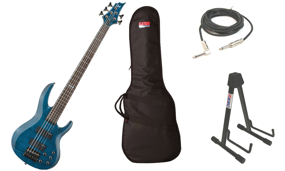 """ESP LTD B Series B-155DX Flamed Maple Top 5 String Rosewood Fingerboard See Through Blue Electric Bass Guitar with Travel Gig Bag, Stand & 1/4"""" Cable"""