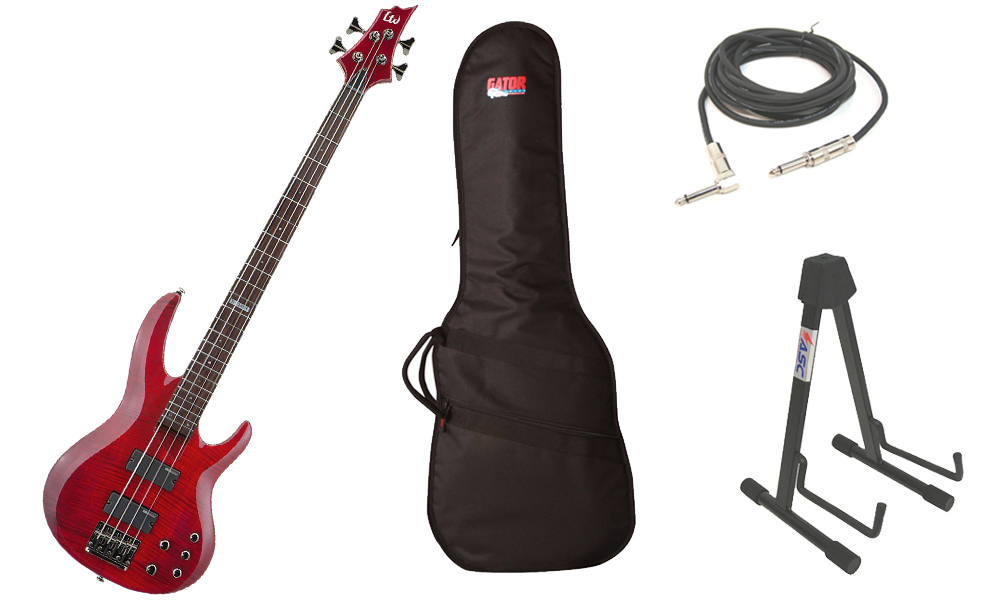 "ESP LTD B Series B-154DX Flamed Maple Top 4 String Rosewood Fingerboard See Through Red Electric Bass Guitar with Travel Gig Bag, Stand & 1/4"" Cable"