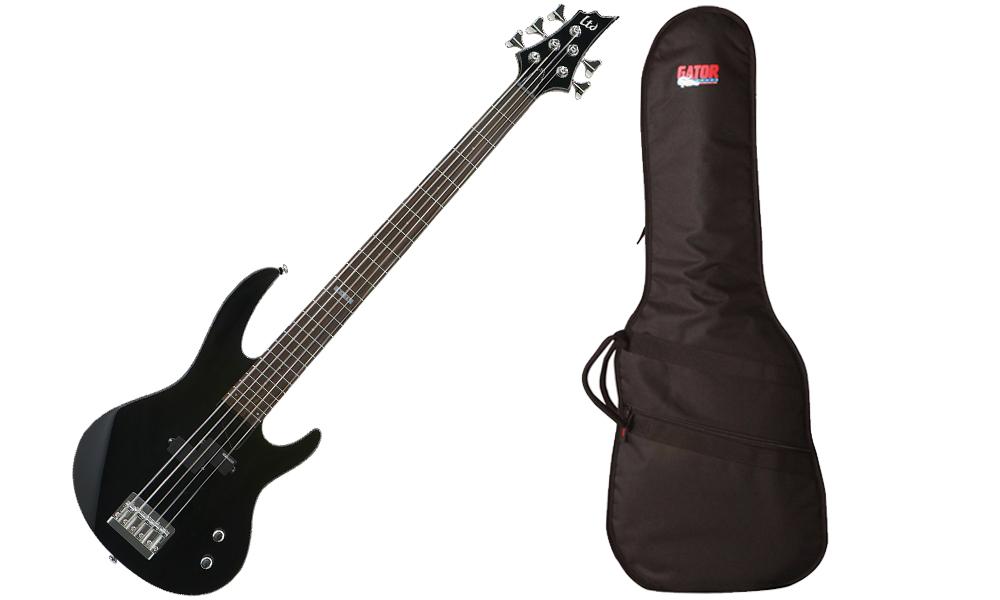 ESP LTD B Series B-15 Kit Basswood Body 5 String Rosewood Fingerboard Black Electric Bass Guitar & Travel Gig Bag