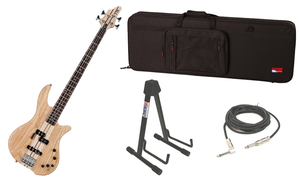 """ESP LTD BB Series BB-4 Alder & Swamp Ash Body 4 String Rosewood Fingerboard Satin Natural Electric Bass Guitar with Travel Road Case, Stand & 1/4"""" Cable"""