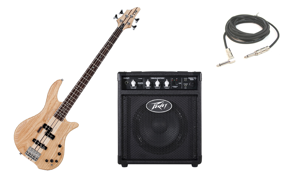 """ESP LTD BB Series BB-4 Alder & Swamp Ash Body 4 String Rosewood Fingerboard Satin Natural Electric Bass Guitar with Peavey Max 158 Practice Amp & 1/4"""" Cable"""