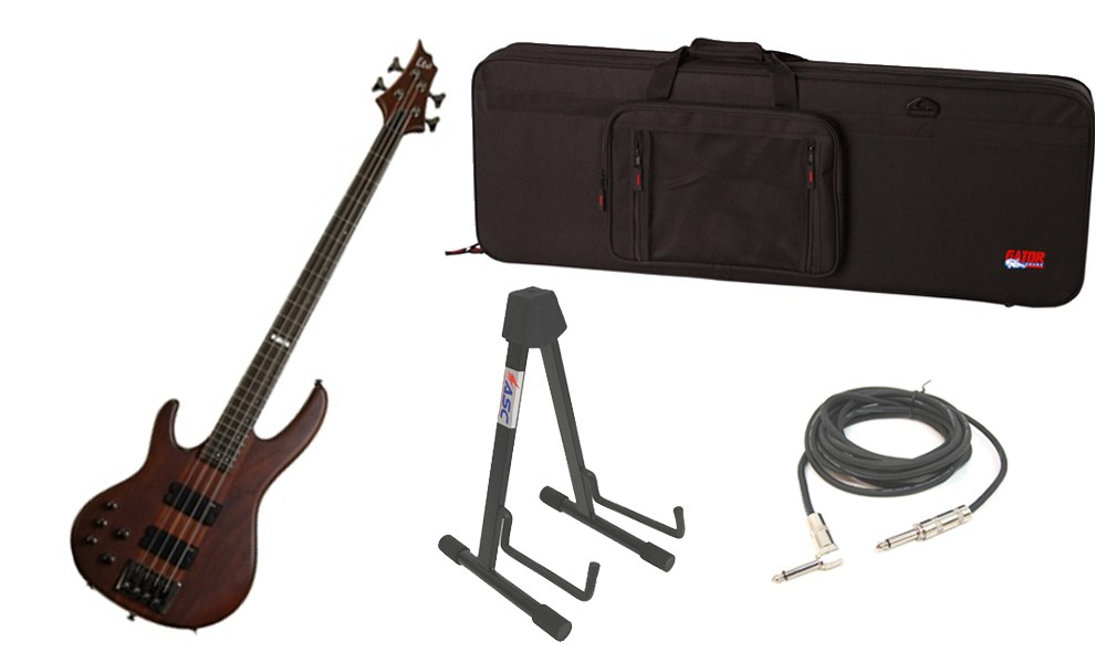 """ESP LTD D Series D-4 Merbau Body 4 String Rosewood Fingerboard Natural Satin Electric Bass Guitar (Left Hand) with Travel Road Case, Stand & 1/4"""" Cable"""