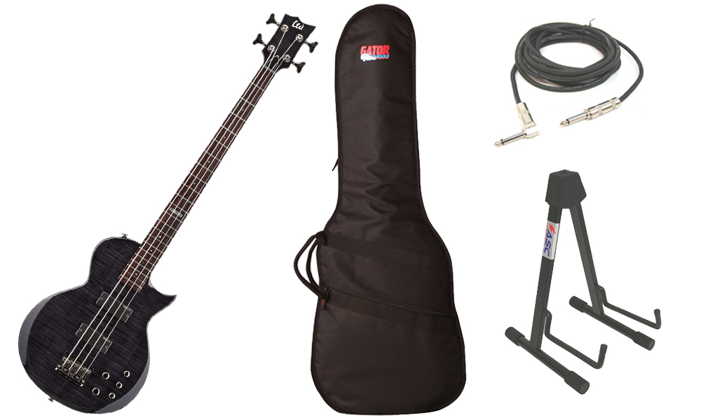 """ESP LTD EC Series EC-154DX Flamed Maple Top 4 String Rosewood Fingerboard See Through Black Electric Bass Guitar with Travel Gig Bag, Stand & 1/4"""" Cable"""