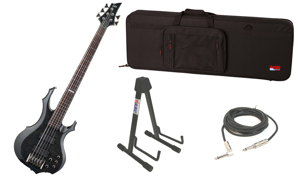 """ESP LTD F Series F-415 Flamed Maple Top 5 String Rosewood Fingerboard See Through Black Electric Bass Guitar with Travel Road Case, Stand & 1/4"""" Cable"""