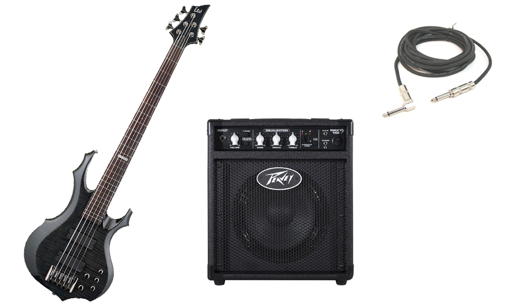 "ESP LTD F Series F-415 Flamed Maple Top 5 String Rosewood Fingerboard See Through Black Electric Bass Guitar with Peavey Max 158 Practice Amp & 1/4"" Cable"