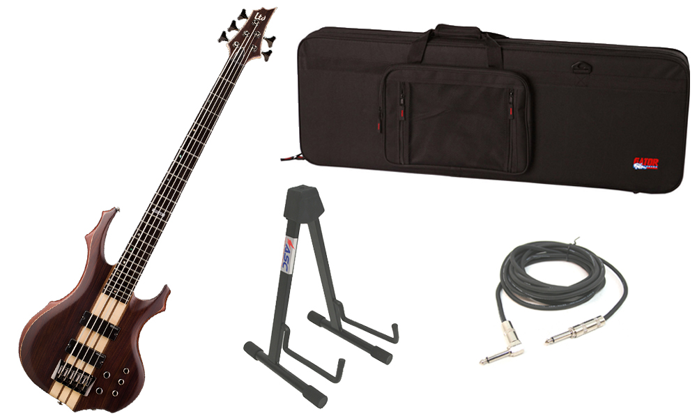 """ESP LTD F Series F-5E Mahogany Body 5 String Ebony Fingerboard Natural Satin Electric Bass Guitar with Travel Road Case, Stand & 1/4"""" Cable"""