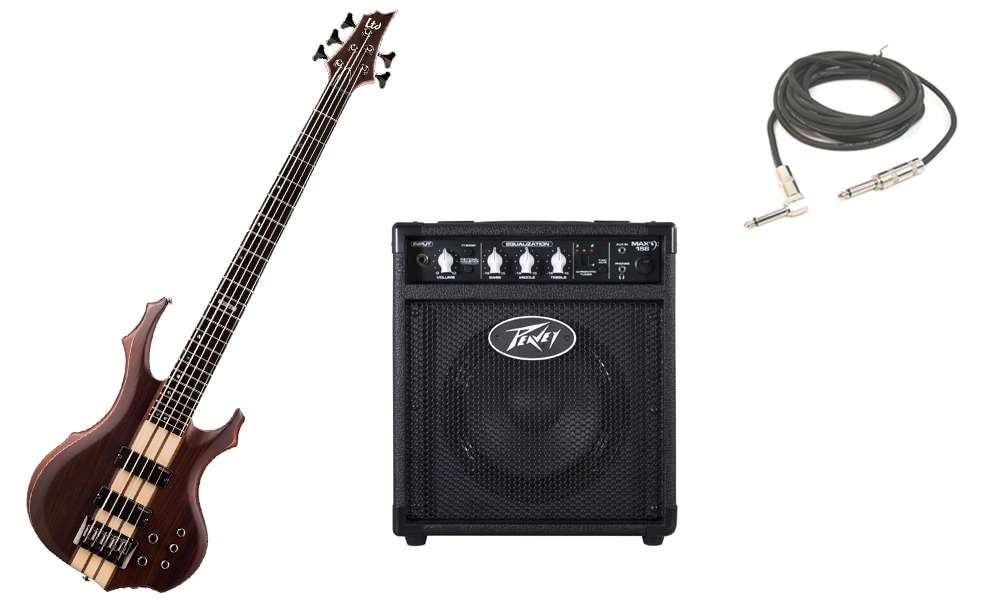 """ESP LTD F Series F-5E Mahogany Body 5 String Ebony Fingerboard Natural Satin Electric Bass Guitar with Peavey Max 158 Practice Amp & 1/4"""" Cable"""