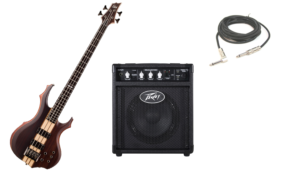 """ESP LTD F Series F-4E Mahogany Body 4 String Ebony Fingerboard Natural Satin Electric Bass Guitar with Peavey Max 158 Practice Amp & 1/4"""" Cable"""