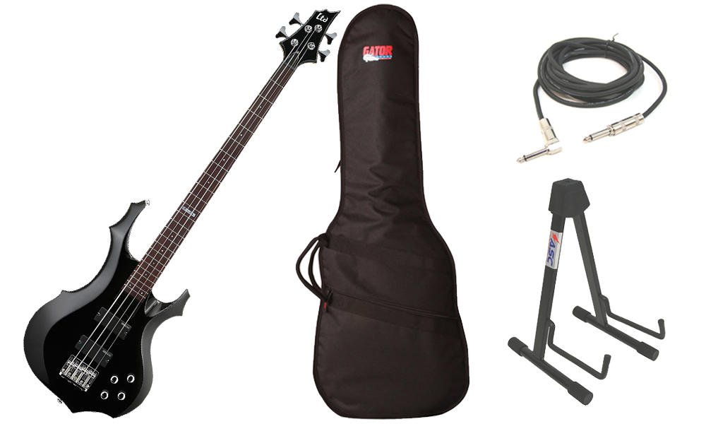 """ESP LTD F Series F-104 Basswood Body 4 String Rosewood Fingerboard Black Electric Bass Guitar with Travel Gig Bag, Stand & 1/4"""" Cable"""