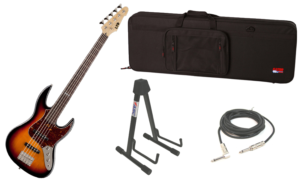 """ESP LTD J Series J-205 Alder Body 5 String Rosewood Fingerboard 3 Tone Burst Electric Bass Guitar with Travel Road Case, Stand & 1/4"""" Cable"""
