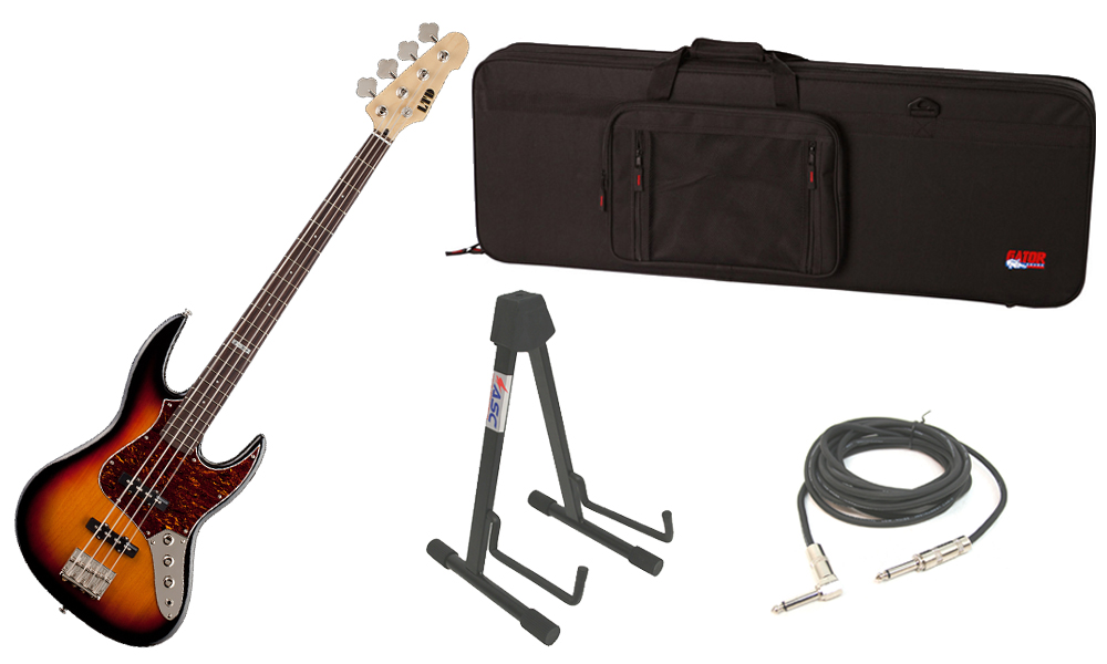 """ESP LTD J Series J-204 Alder Ash Body 4 String Rosewood Fingerboard 3 Tone Burst Electric Bass Guitar with Travel Road Case, Stand & 1/4"""" Cable"""