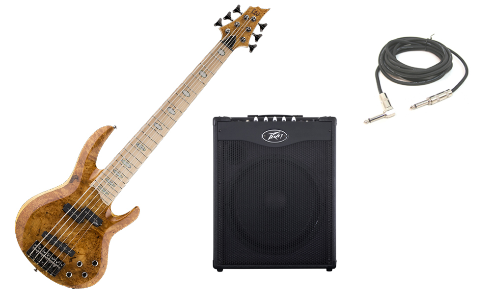 """ESP LTD RB Series RB-1006BM Solid Burled Maple Top 6 String Maple Fingerboard Honey Natural Electric Bass Guitar with Peavey MAX 115 Combo Amp & 1/4"""" Cable"""