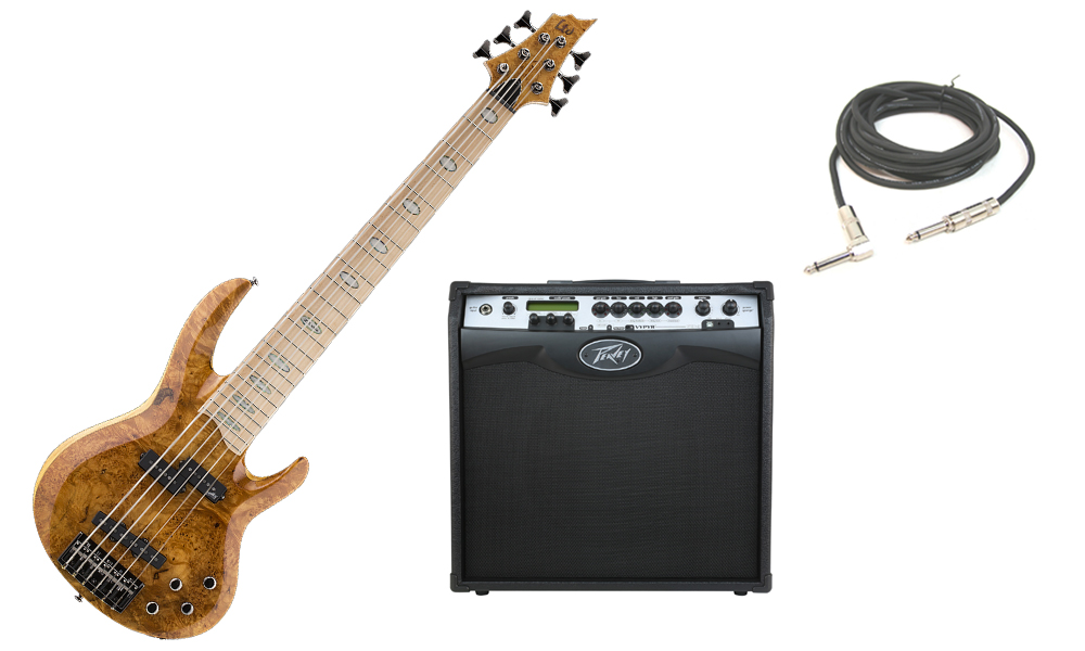 """ESP LTD RB Series RB-1006BM Solid Burled Maple Top 6 String Maple Fingerboard Honey Natural Electric Bass Guitar with Peavey VIP 3 Modeling Amp & 1/4"""" Cable"""
