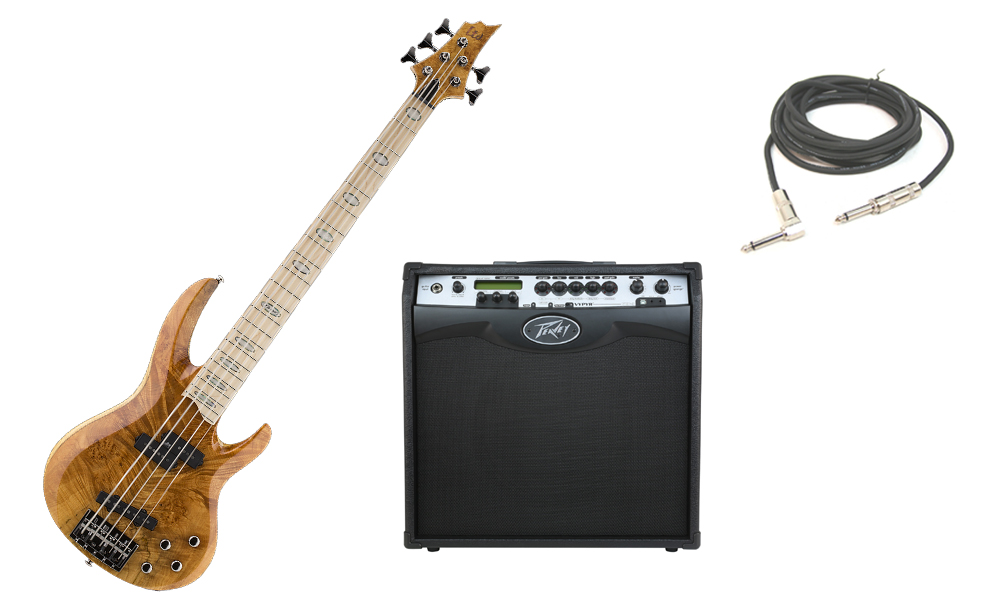 """ESP LTD RB Series RB-1005BM Solid Burled Maple Top 5 String Maple Fingerboard Honey Natural Electric Bass Guitar with Peavey VIP 3 Modeling Amp & 1/4"""" Cable"""