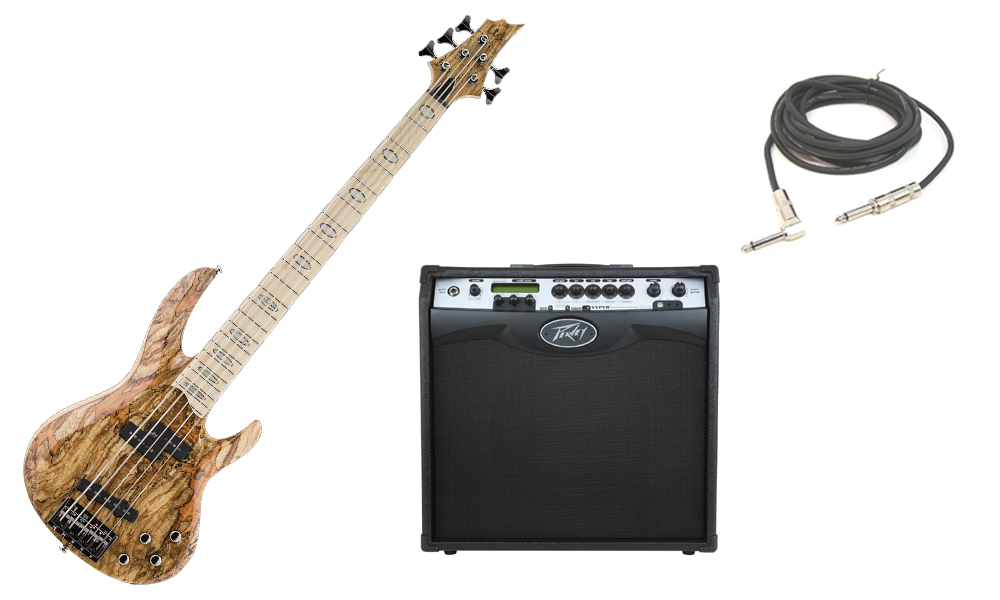 """ESP LTD RB Series RB-1005SM Solid Spalted Maple Top 5 String Maple Fingerboard Natural Electric Bass Guitar with Peavey VIP 3 Modeling Amp & 1/4"""" Cable"""