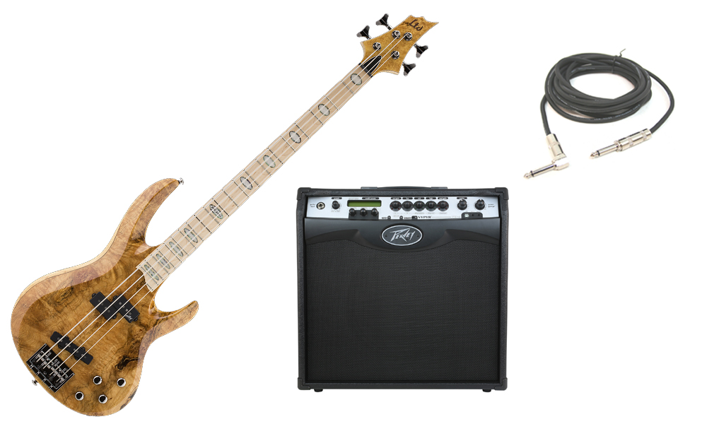"""ESP LTD RB Series RB-1004BM Solid Burled Maple Top 4 String Maple Fingerboard Honey Natural Electric Bass Guitar with Peavey VIP 3 Modeling Amp & 1/4"""" Cable"""