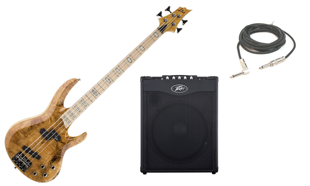 """ESP LTD RB Series RB-1004SM Solid Spalted Maple Top 4 String Maple Fingerboard Natural Electric Bass Guitar with Peavey MAX 115 Combo Amp & 1/4"""" Cable"""