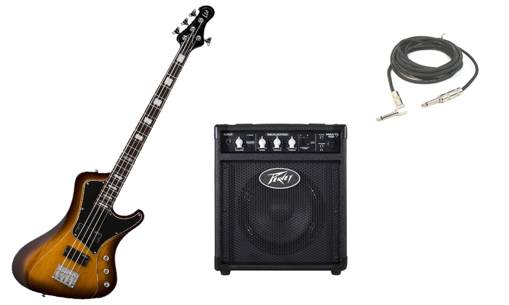 """ESP LTD Stream Series 204 Mahogany Body 4 String Rosewood Fingerboard Tobacco Sunburst Electric Bass Guitar with Peavey Max 158 Practice Amp & 1/4"""" Cable"""