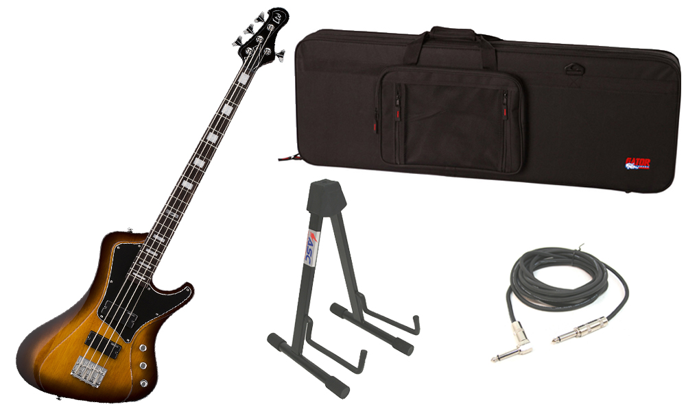 """ESP LTD Stream Series 204 Mahogany Body 4 String Rosewood Fingerboard Tobacco Sunburst Electric Bass Guitar with Travel Road Case, Stand & 1/4"""" Cable"""