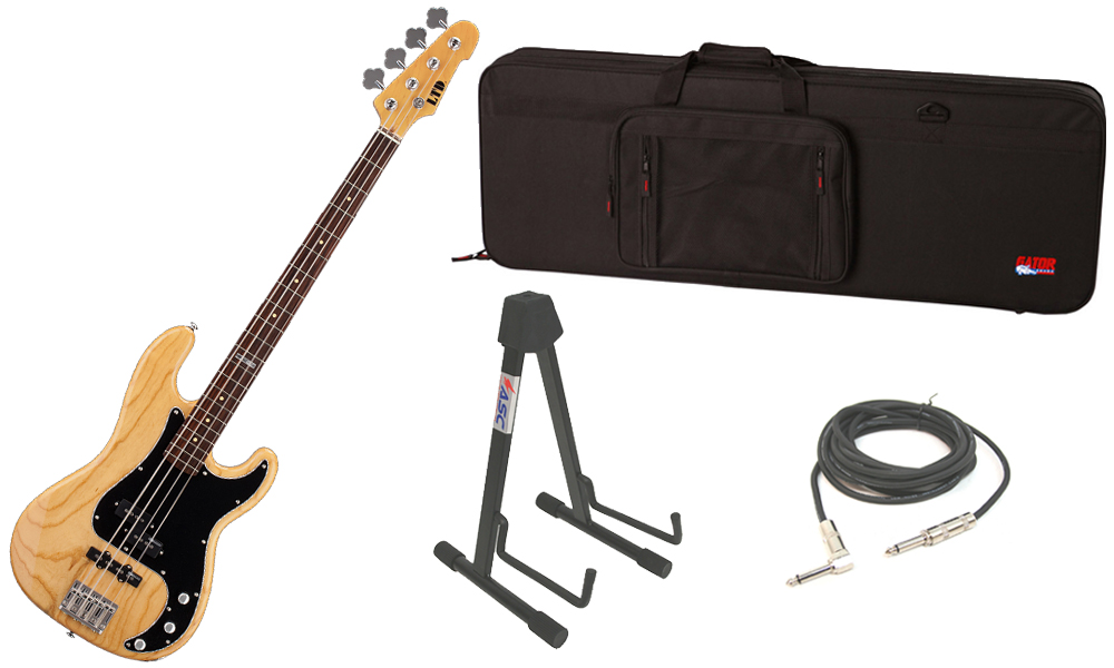 """ESP LTD Vintage Series 214 Swamp Ash Body 4 String Rosewood Fingerboard Natural Gloss Electric Bass Guitar with Travel Road Case, Stand & 1/4"""" Cable"""
