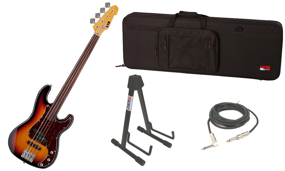 """ESP LTD Vintage Series 214 Alder Body 4 String Fretless Rosewood Fingerboard 3 Tone Burst Electric Bass Guitar with Travel Road Case, Stand & 1/4"""" Cable"""
