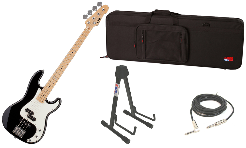 """ESP LTD Vintage Series 214 Alder Body 4 String Maple Fingerboard Black Electric Bass Guitar with Travel Road Case, Stand & 1/4"""" Cable"""