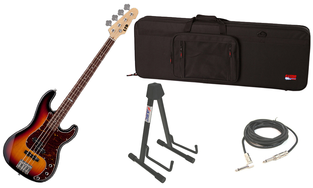 """ESP LTD Vintage Series 214 Alder Body 4 String Rosewood Fingerboard 3 Tone Burst Electric Bass Guitar with Travel Road Case, Stand & 1/4"""" Cable"""