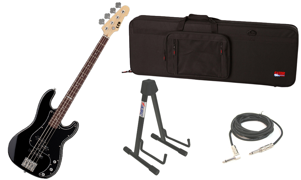 """ESP LTD Vintage Series 214 Alder Body 4 String Rosewood Fingerboard Black Electric Bass Guitar with Travel Road Case, Stand & 1/4"""" Cable"""
