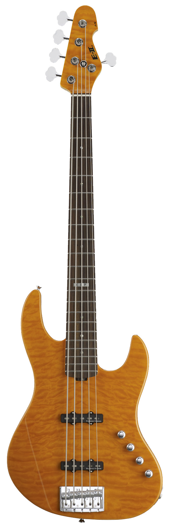 ESP J-5 QM AMB E-II J Series Chambered Ash Body Electric Bass Guitar with Amber Finish