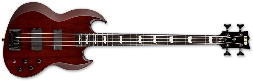 ESP LTD GC-4 MB TLD Gabe Crisp Signature Series Electric Bass Guitar with Mahogany Brown Finish