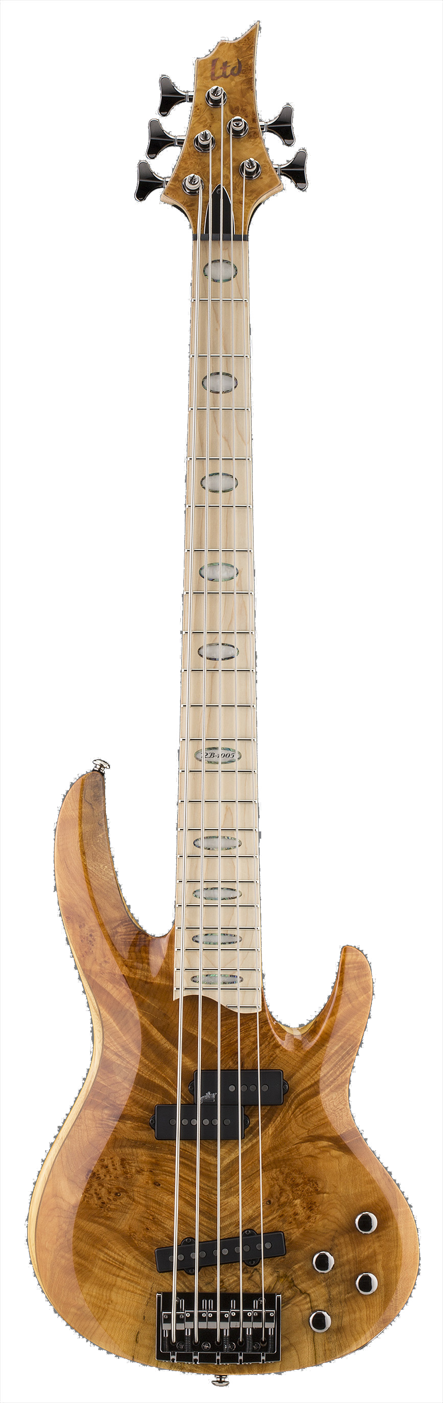 ESP LTD RB-1005BM HN RB Series Burled Maple 5 String Electric Bass Guitar with Natural Finish