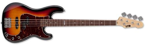 ESP LTD VINTAGE-214 ROSEWOOD 3TB Bass Guitar with Fingerboard Black 3 Tone Burst Finish