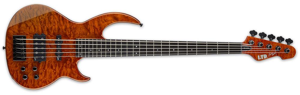 ESP LTD BB-1005QM BOR 5-String Bunny Brunel Signature Bass Guitar - Burnt Orange Finish (LBB1005QMBOR)