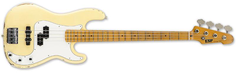 ESP Vintage-4 Maple Standard Series Bass Guitar - Distressed Vintage White Alder w/ Maple Neck (EVINTAGE4VW)