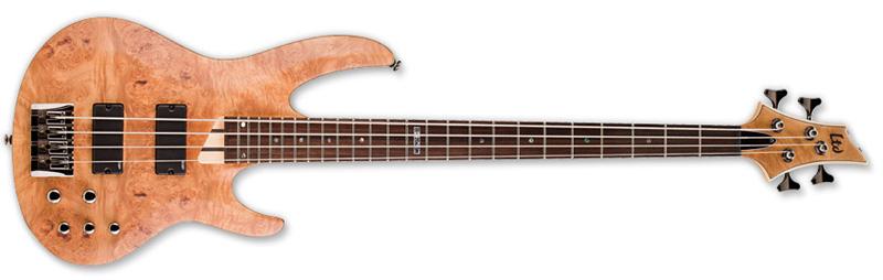 ESP LTD B-204BM B Series Bass Guitar - Natural Satin Finish Ash w/ Burled Maple Top (LB204BMNS)