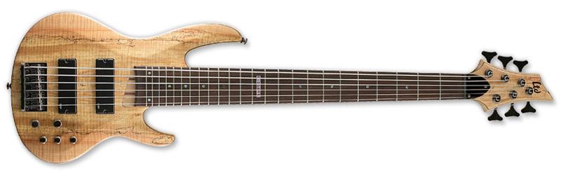 ESP LTD B-206SM B Series Bass Guitar - Natural Satin Finish Ash w/ Spalted Maple Top (LB206SMNS)