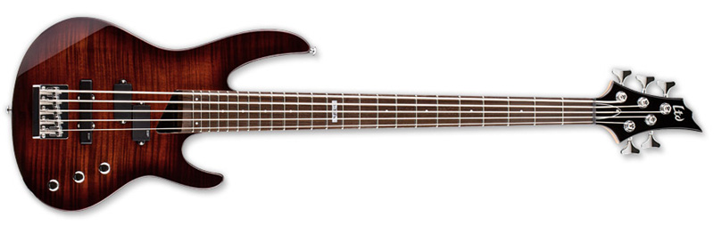 ESP LTD B-55FM 5 String Electric Bass Guitar Dark Brown Sunburst Finish (LB55FMDBSB)