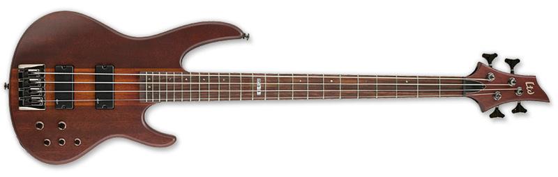 ESP LTD D-4 D Series Bass Guitar - Natural Satin Finish Merbau w/ Mahogany/Maple Neck Thru (LD4NS)