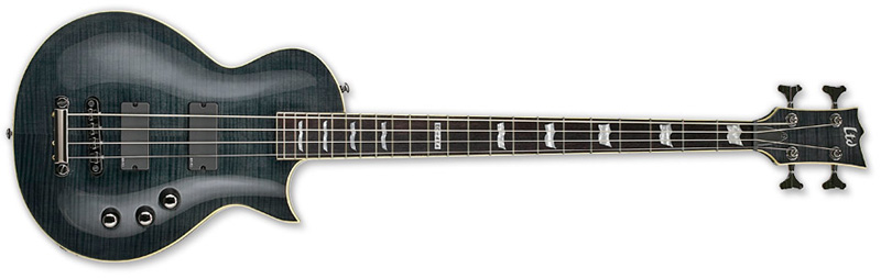 ESP LTD EC-414 FM EC Series Bass Guitar Flamed Maple Top - See Thru Black Finish (LEC414FMSTBLK)