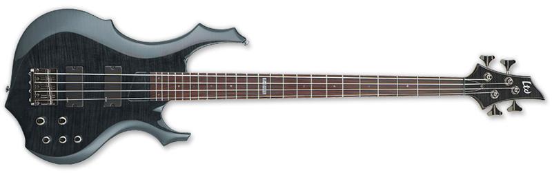 ESP LTD F-154 DX F-Series Bass Guitar - See Thru Black Finish Flamed Maple Top ESP Tuners & Basswood Body (LF154DXSTBLK)