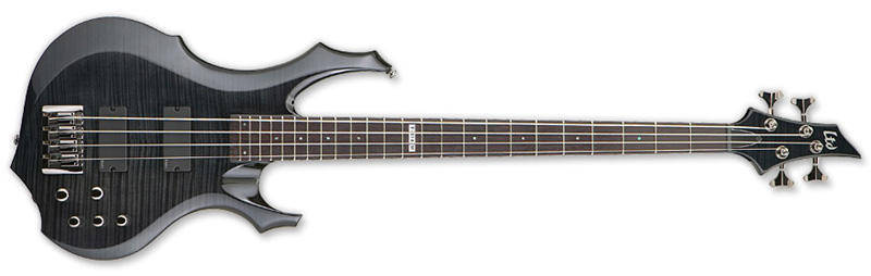 ESP LTD F-414 FM F-Series Bass Guitar - See Thru Black Finish Flamed Maple Top & Mahogany Body (LF414FMSTBLK)