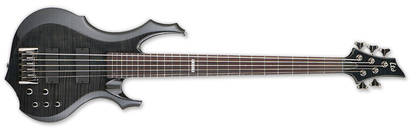 ESP LTD F-415 FM F-Series Bass Guitar - See Thru Black Finish Flamed Maple Top & Mahogany Body (LF415FMSTBLK)