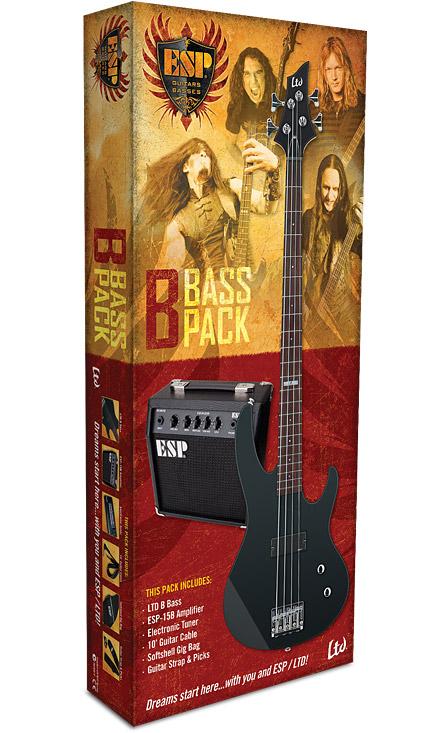 ESP LTD B BASS PACK - Black Satin Finish Basswood w/ Maple Neck (LBPACKBLKS)