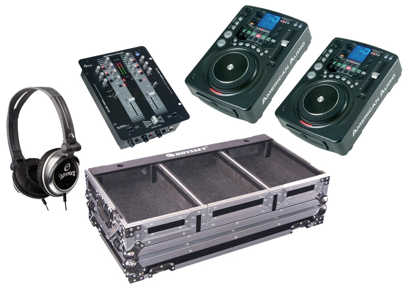 DJ Package American Audio Pair CDI 500 MP3 Pro MP3 CD Players with Monitor Headphones, Q-D5 MKII Pro Scratch 2CH Mixer and Odyssey Gig Case System